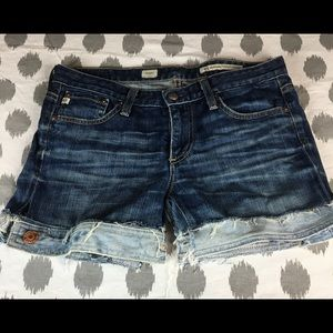 AG Jeans Deconstructed Jean Shorts Distressed OOAK